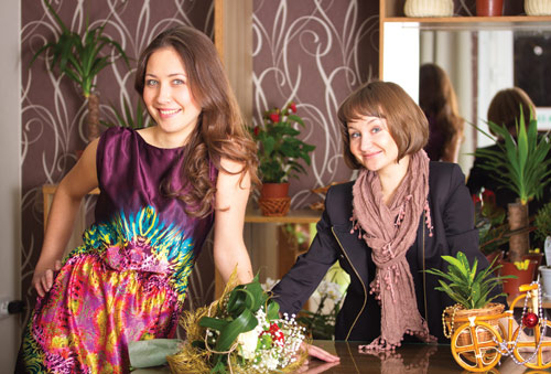 Анастасия Сардаева и Лилия Евсеева — совладельцы цветочного бутика «Грин Арт»
